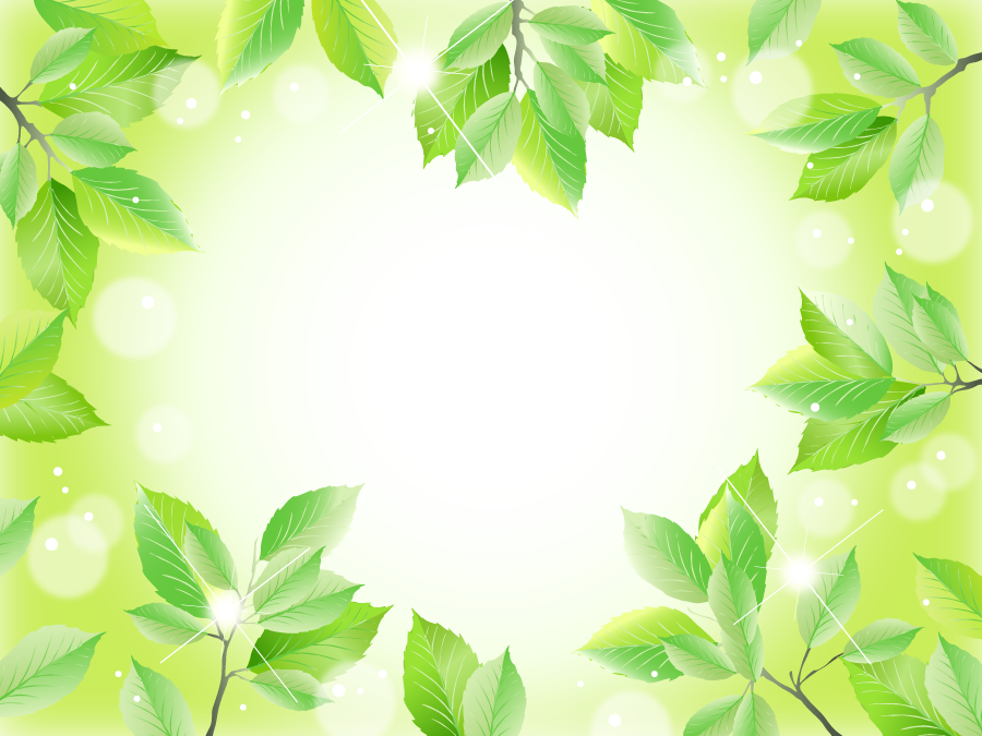 フリーイラスト ハート型の新緑の葉っぱのフレーム