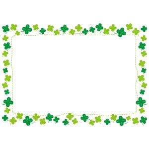 フリーイラスト, ベクター画像, EPS, 背景, フレーム, 囲みフレーム, 植物, クローバー(シロツメクサ), 四つ葉のクローバー, 点線