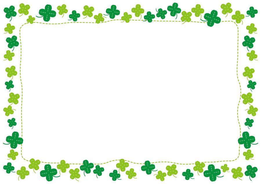 フリーイラスト 四つ葉クローバーの飾り枠