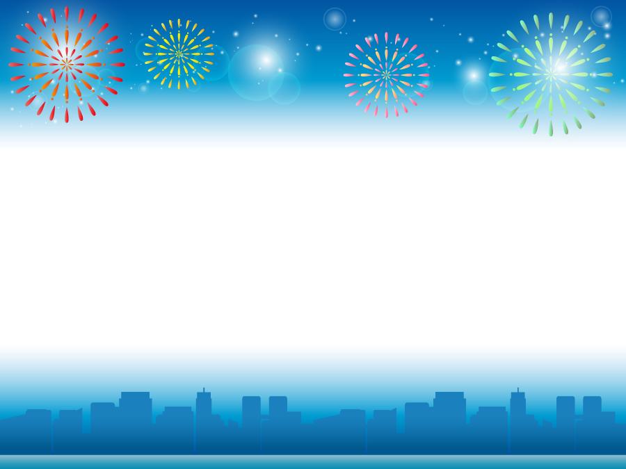フリーイラスト 夜空の打ち上げ花火と街並みのフレーム