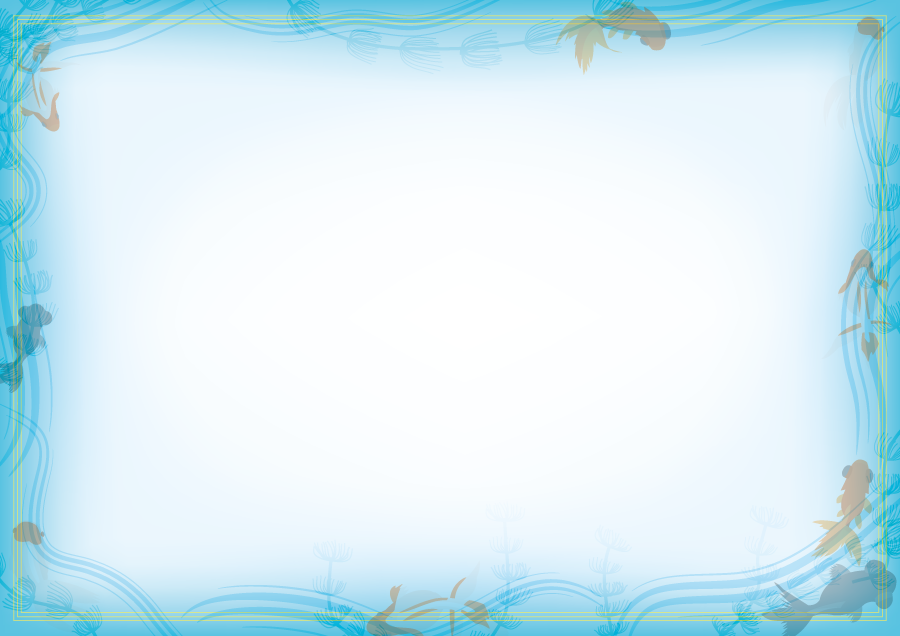 フリーイラスト 水の中を泳ぐ金魚のフレーム