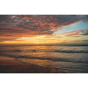 フリー写真, 風景, 自然, ビーチ(砂浜), 海, 夕暮れ(夕方), 夕焼け, アメリカの風景, バージニア州
