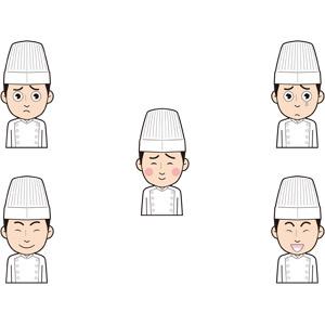 フリーイラスト, 人物, 男性, 仕事, 職業, 料理人(調理師), コック(シェフ), 心配する, 照れる, 笑う(笑顔), 泣く(泣き顔)