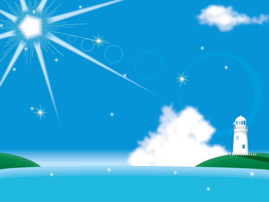 フリーイラスト 夏の太陽と海と灯台の風景