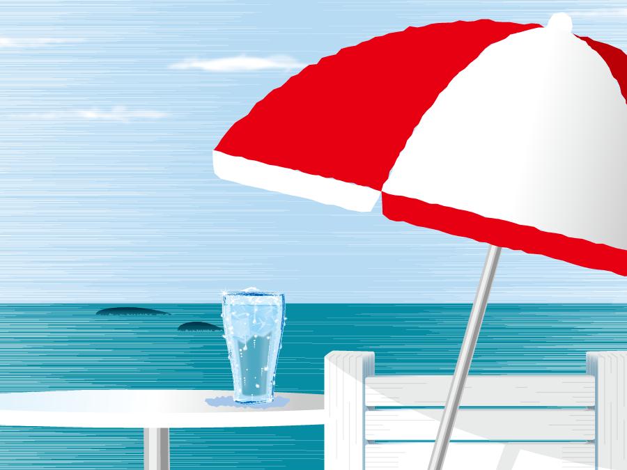 フリーイラスト 夏の海とドリンクとビーチパラソル