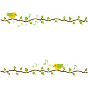 フリーイラスト, ベクター画像, EPS, 背景, フレーム, 上下フレーム, 植物, 枝, 葉っぱ, 小鳥, 音符, 歌う(動物)