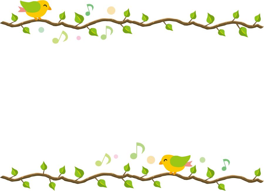 フリーイラスト 木の枝に止まって歌う小鳥の飾り枠