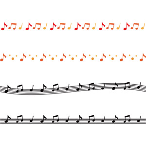 フリーイラスト, ベクター画像, AI, 飾り罫線(ライン), 音楽, 楽譜, 音符