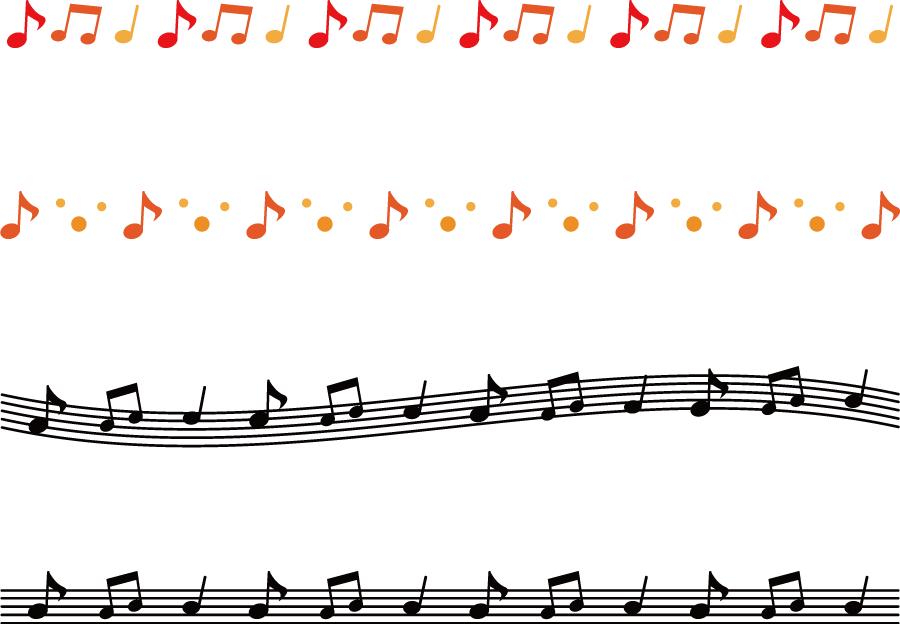 フリーイラスト 4本の音符のラインのセット