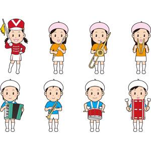 フリーイラスト, 人物, 子供, 男の子, 女の子, 音楽, 鼓笛隊(マーチングバンド), 演奏する, 指揮者, フルート, トロンボーン, シンバル, アコーディオン, トランペット, 小太鼓, 大太鼓