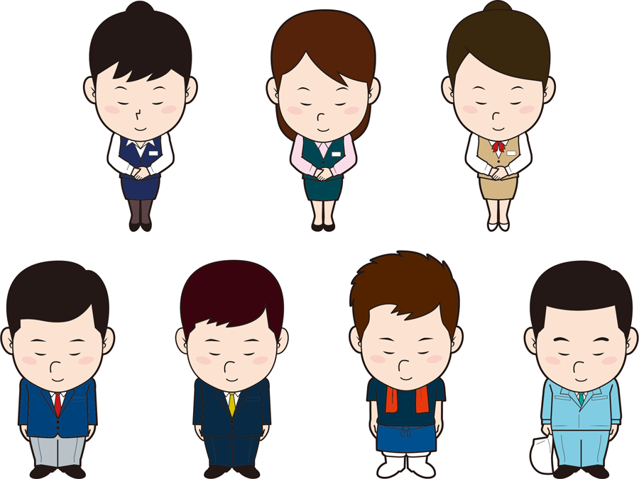 フリーイラスト 7種類のお辞儀する人々のセット