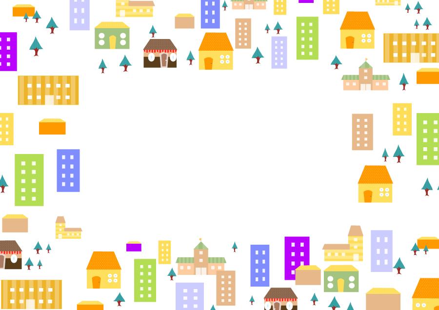 フリーイラスト 建物の並ぶ街の囲みフレーム