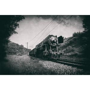 フリー写真, 乗り物, 列車(鉄道車両), 汽車, 蒸気機関車, スロバキアの鉄道車両, モノクロ, 線路(鉄道)