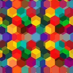 フリーイラスト, ベクター画像, AI, 背景, 抽象イメージ, 幾何学模様, 六角形(ヘキサゴン), カラフル