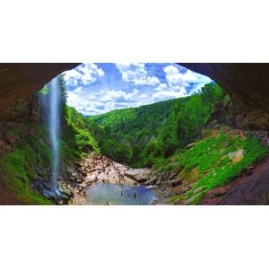 フリー写真, 風景, 滝, 雲, 山, 人と風景, 人込み(人混み), 川遊び, 水遊び, アメリカの風景, ニューヨーク州