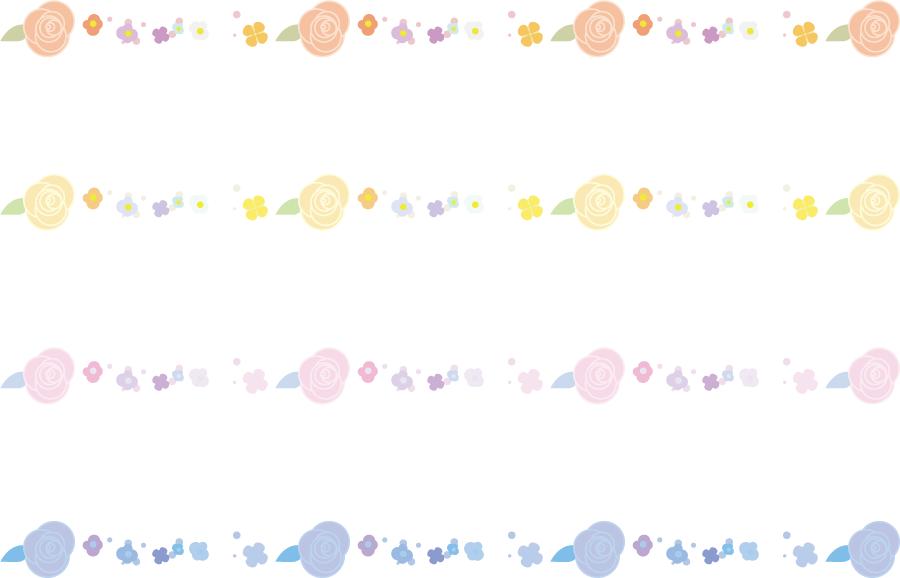 フリーイラスト 四色の花々のラインのセット