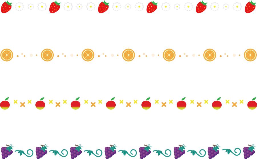 フリーイラスト イチゴとオレンジとリンゴとブドウのラインのセット