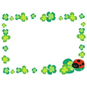 フリーイラスト, ベクター画像, AI, 背景, フレーム, 囲みフレーム, 植物, クローバー(シロツメクサ), 四つ葉のクローバー, てんとう虫(テントウムシ)
