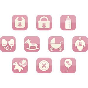 フリーイラスト, ベクター画像, AI, 育児用品, アイコン, ピンク色, よだれかけ, 哺乳瓶, 乳母車(ベビーカー), ベビー服 , 手袋, ミトン, 木馬, 玩具(おもちゃ), ボタン, 風船