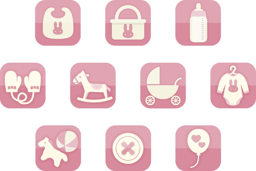 フリーイラスト 10種類のピンク色のベビー用品のアイコンのセット