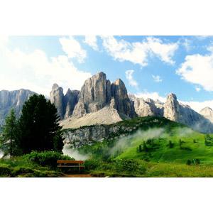 フリー写真, 風景, 山, ドロミテ(ドロミーティ), アルプス山脈, イタリアの風景, ベンチ, 岩山