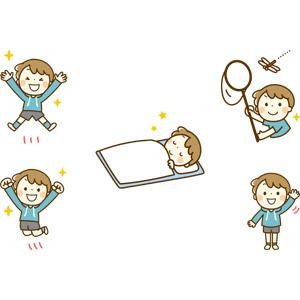 フリーイラスト, 人物, 子供, 男の子, 男の子(00230), 万歳(バンザイ), 喜ぶ(嬉しい), 跳ぶ(ジャンプ), 寝る(寝顔), 虫取り網(虫捕り網), 昆虫採集, トンボ, 手を振る
