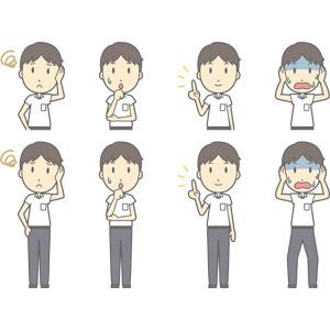 フリーイラスト, ベクター画像, AI, 人物, 少年, 少年(00259), 学生(生徒), 中学生, 学生服, 困る, 心配する, 指差す, アドバイス, 頭を抱える, 青ざめる, 冷や汗をかく, 失敗