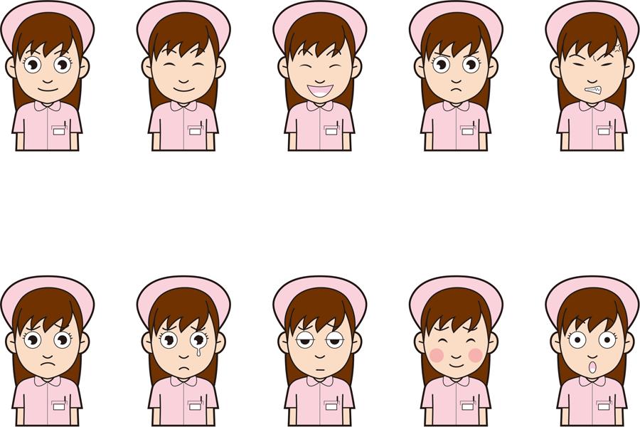 フリーイラスト 10種類の看護師の女性のセット
