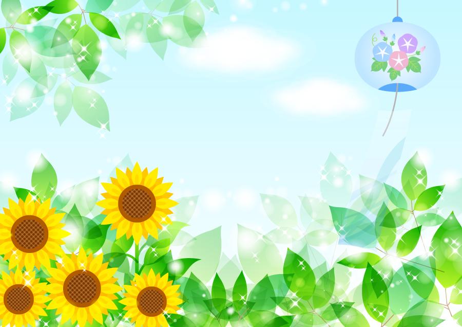 フリーイラスト 風鈴と新緑の葉とひまわりの花