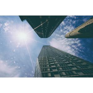 フリー写真, 風景, 建造物, 建築物, 高層ビル, フラットアイアンビルディング, 青空, 太陽光(日光), アメリカの風景, ニューヨーク