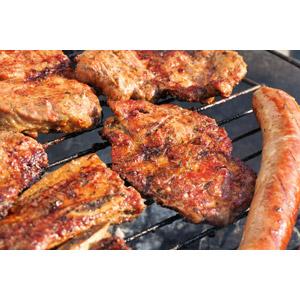 フリー写真, 食べ物(食料), 料理, 肉料理, 焼肉(焼き肉), 食肉, バーベキュー, ソーセージ(ウィンナー), ステーキ
