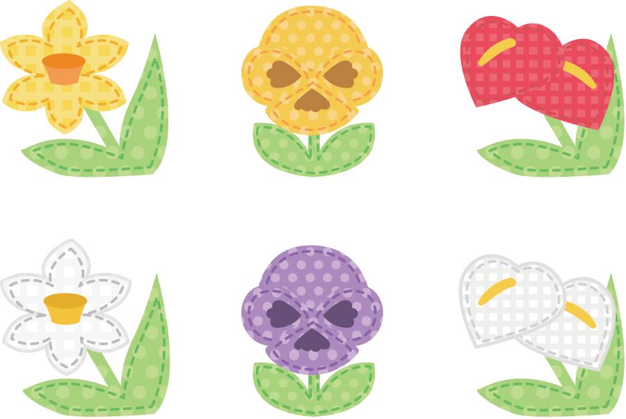 フリーイラスト スイセン、パンジー、アンスリウムの花のアップリケのセット