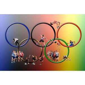 フリーイラスト, 背景, オリンピック, 五輪マーク(オリンピックマーク), スポーツ, 陸上競技, 走る, 投げる, 跳ぶ(ジャンプ)