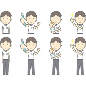 フリーイラスト, ベクター画像, AI, 人物, 少年, 少年(00259), 学生(生徒), 中学生, 学生服, シャープペンシル(シャーペン), ガッツポーズ, 赤ちゃん, 腕をまくる, 頑張る, やる気
