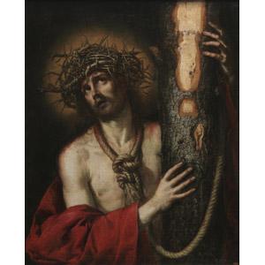 フリー絵画, アントニオ・デ・ペレーダ, 宗教画, キリスト教, 新約聖書, イエス・キリスト, いばらの冠, 十字架, 拘束, 処刑, 見上げる(上を向く)