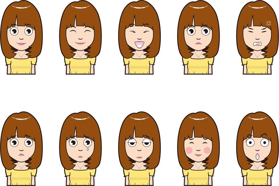 フリーイラスト 10種類の女子大学生のセット