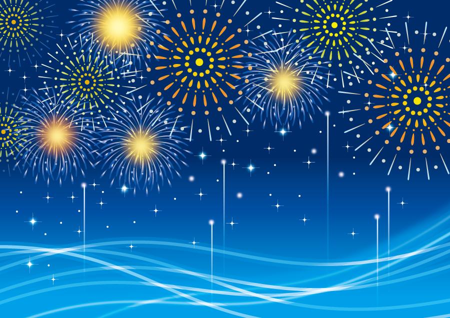 フリーイラスト 打ち上げ花火と海の背景