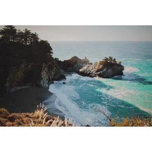 フリー写真, 風景, 自然, 海, 海岸, 滝, アメリカの風景, カリフォルニア州, 岩, ビッグサー, マクウェイ滝
