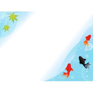 フリーイラスト, ベクター画像, AI, 背景, フレーム, 対角フレーム, 動物, 魚類, 魚(サカナ), 金魚(キンギョ), 夏, 波紋, 葉っぱ, もみじ(カエデ), 青もみじ