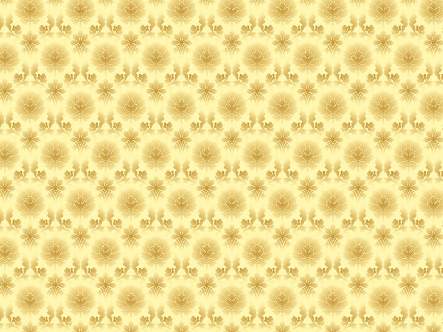 フリーイラスト 金色の更紗模様の背景