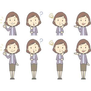フリーイラスト, ベクター画像, AI, 人物, 中年女性, 中年女性(00267), 指差す, アドバイス, 分からない, 首を傾げる, 困る, 頬に手を当てる, 案内する