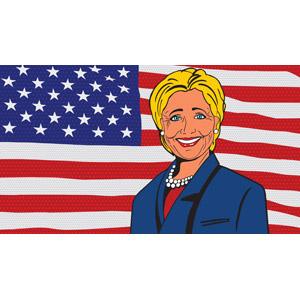 フリーイラスト, 人物, シニア女性, ヒラリー・クリントン, アメリカ人, 政治家, アメリカの国旗(星条旗), 国旗