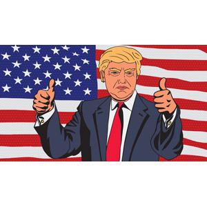 フリーイラスト, 人物, シニア男性, ドナルド・トランプ, アメリカ人, アメリカの国旗(星条旗), 国旗, 政治家, ビジネスマン