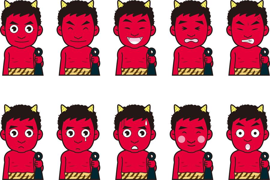フリーイラスト 10種類の赤鬼のセット