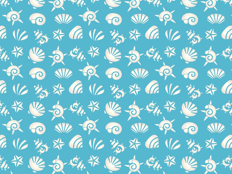 フリーイラスト 貝殻とヒトデの水色の背景