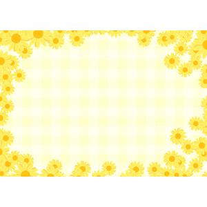 フリーイラスト, ベクター画像, EPS, 背景, フレーム, 囲みフレーム, 植物, 花, マーガレット, 黄色の花, チェック柄, ギンガムチェック, 黄色(イエロー)