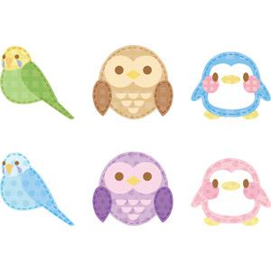 フリーイラスト, ベクター画像, AI, アップリケ(ワッペン), 動物, 鳥類, 猛禽類, インコ, フクロウ, ペンギン