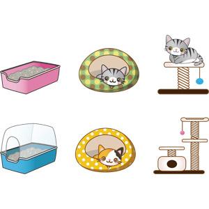フリーイラスト, ベクター画像, AI, ペット用品, キャットタワー, キャットハウス, ペット用トイレ, 動物, 哺乳類, 猫(ネコ), 三毛猫, サバトラ猫
