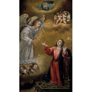 フリー絵画, アントニオ・デ・ペレーダ, 宗教画, キリスト教, 新約聖書, 聖母マリア, 受胎告知, 大天使, ガブリエル, 指差す, 天使(エンジェル), 父なる神, 白い鳩