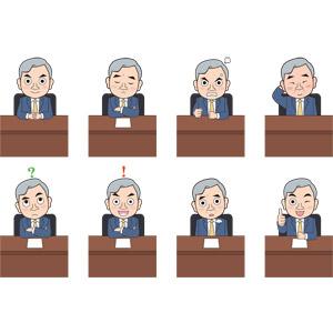 フリーイラスト, 人物, 中年男性, 仕事, 職業, ビジネス, 社長, 考える, 悩む, 怒る, 照れる, 頭を掻く, 分からない, 閃く, ため息をつく, サムズアップ, いいね(グッド), 腕を組む, 座る(椅子)